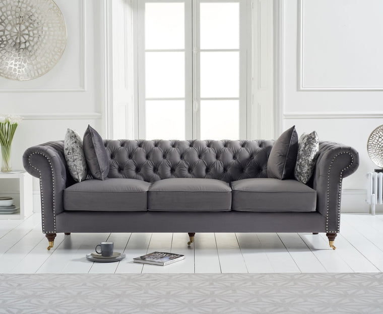 Mark Harris Camara Chesterfield Grey Velvet 3 Seater