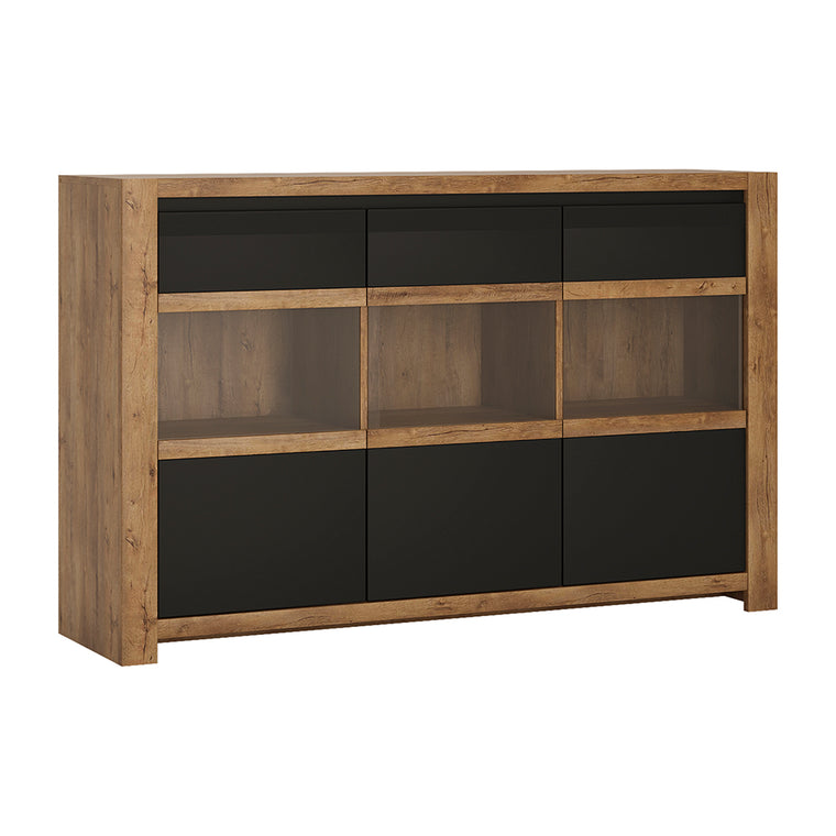 Axton Morris 3 Door Sideboard in Lefkas Oak With Matt Black Fronts