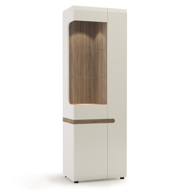 Axton Norwood Living Tall Glazed Narrow Display Unit (RHD) In White With A Truffle Oak Trim