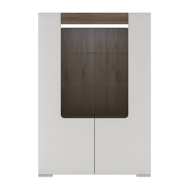 Axton Bronxdale Low Glazed 2 door Display Cabinet With Internal Shelves (inc. Plexi Lighting)