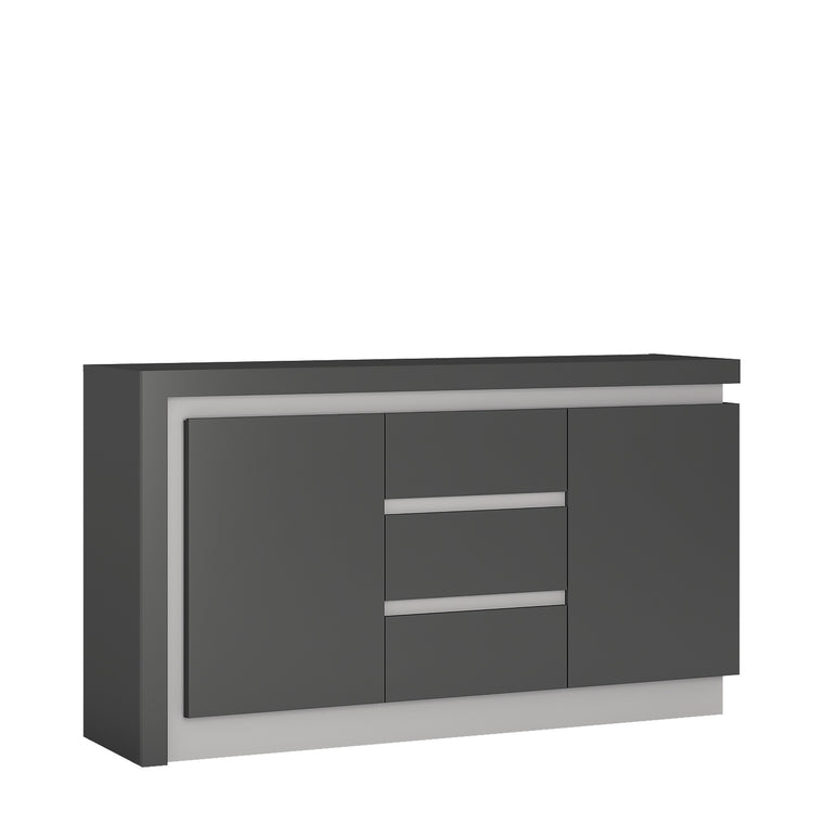 Axton Woodlawn 2 Door 3 Drawer Sideboard In Platinum/Light Grey Gloss