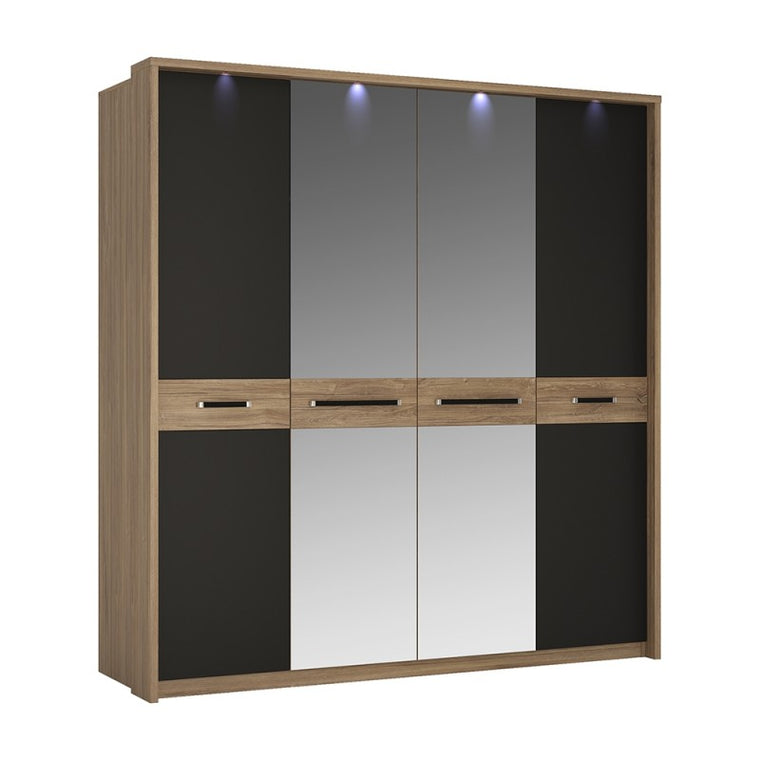 Axton Harding 4 Door Wardrobe With Mirror Doors in Stirling Oak With Matt Black Fronts