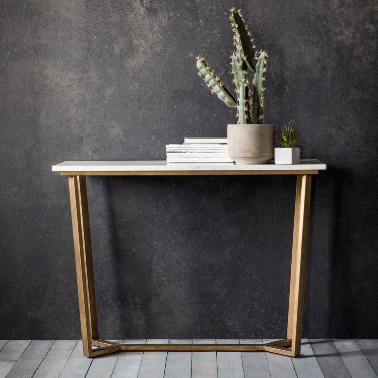 Hudson Living Cleo Console Table Marble