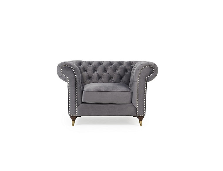 Mark Harris Camara Chesterfield Grey Velvet Armchair