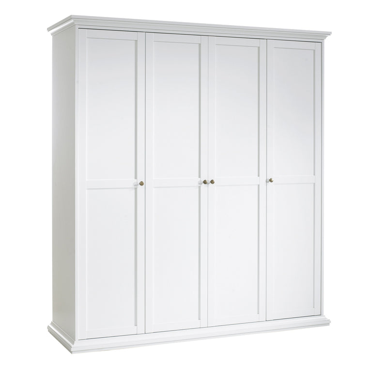 Axton Westchester Wardrobe with 4 Doors In White