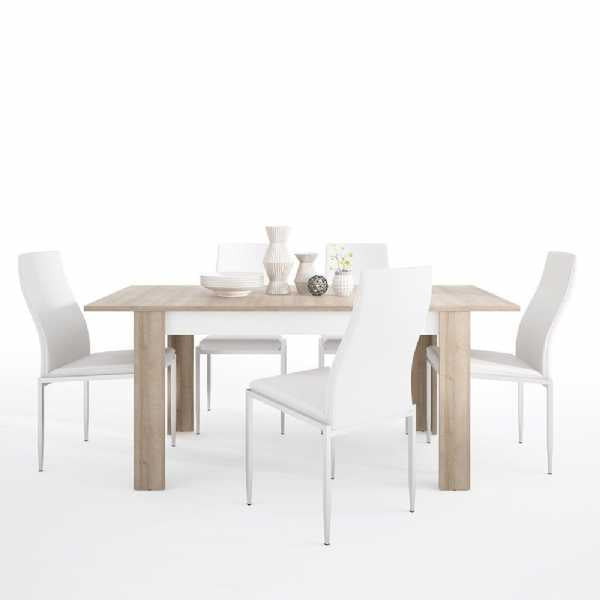 Axton Woodlawn Medium extending dining table 140/180 cm + 6 Milan High Back Chair White