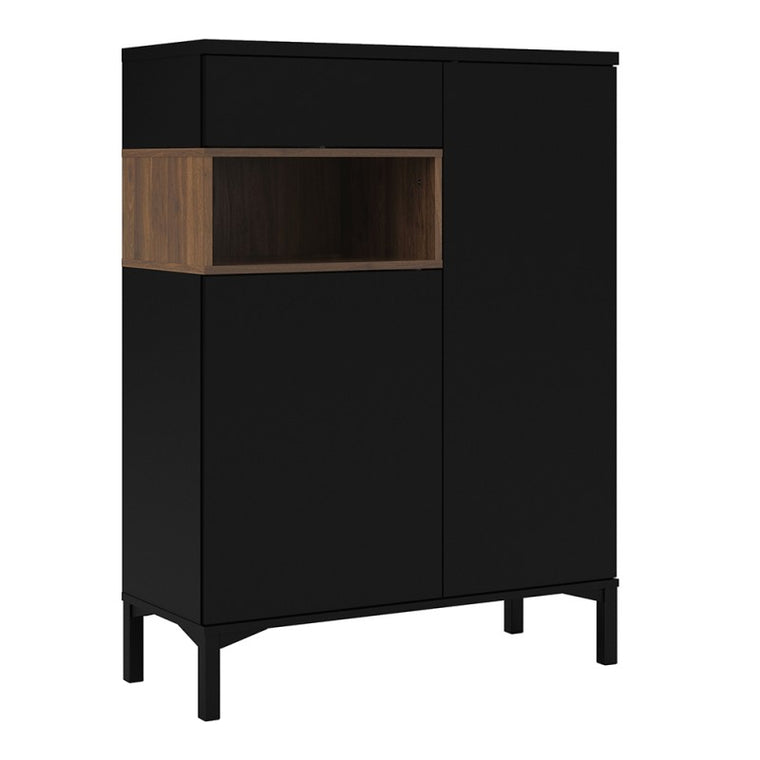 Axton Blauzes Sideboard 2 Door 1 Drawer in Black and Walnut