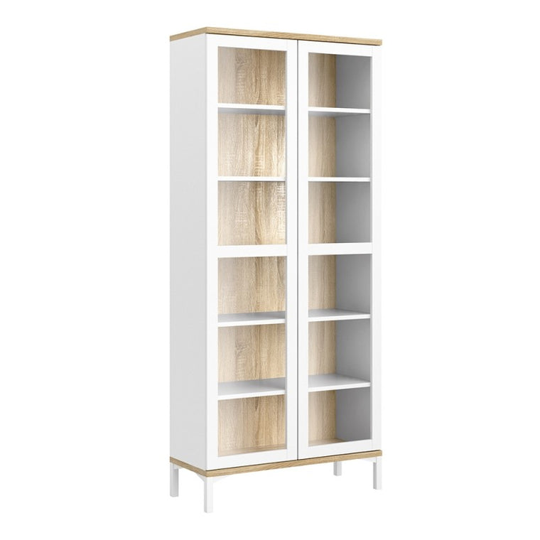 Axton Blauzes Display Cabinet Glazed 2 Doors in White and Oak