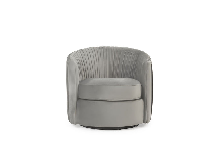 Mark Harris Sarana Grey Velvet Swivel Chair