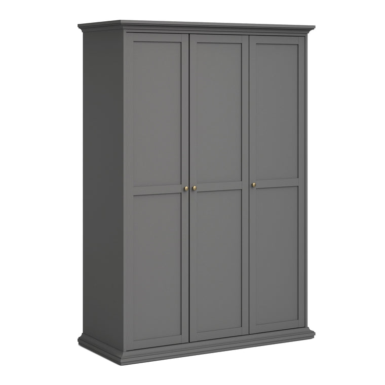 Axton Westchester Wardrobe With 3 Doors in Matt Grey