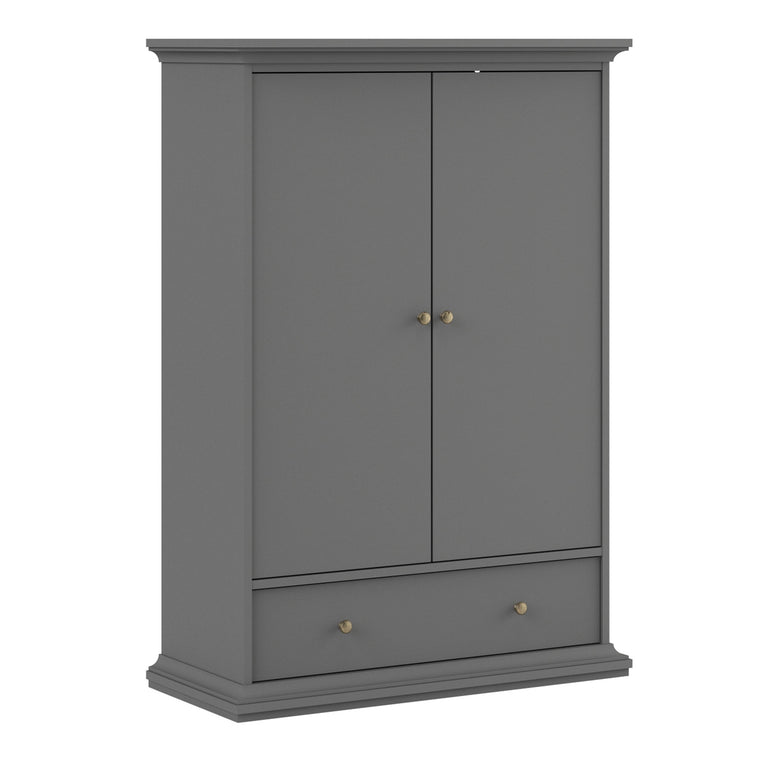 Axton Westchester Wardrobe with 2 Doors 1 Drawer 2 Shelves In Matt Grey