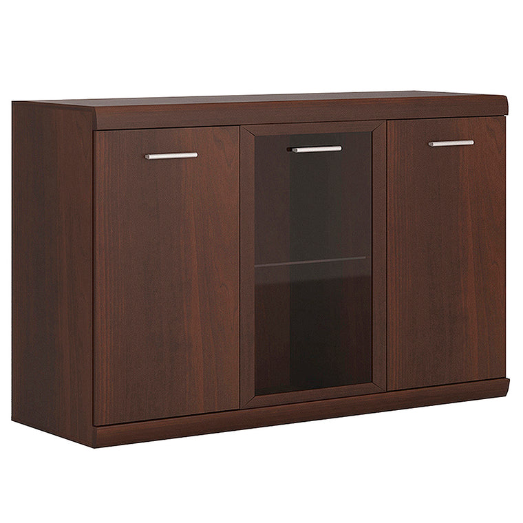 Axton Pelham 3 Door Glazed Sideboard In Dark Mahogany Melamine