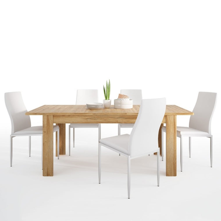 Axton Bronxwood Extending Dining Table in Grandson Oak + 4 Milan High Back Chair White