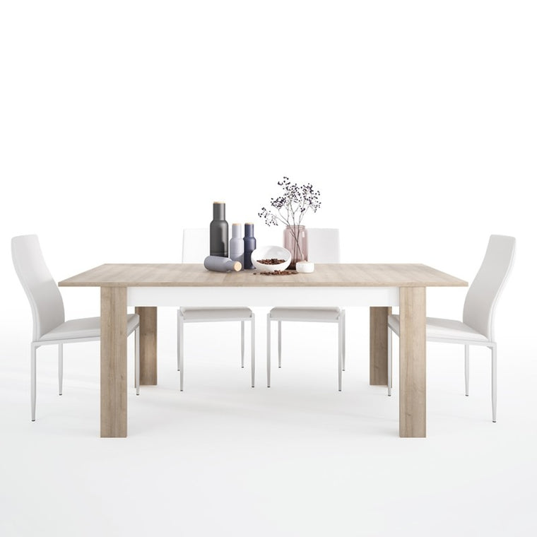 Axton Woodlawn Large Extending Dining Table 160/200 cm + 4 Milan High Back Chair White
