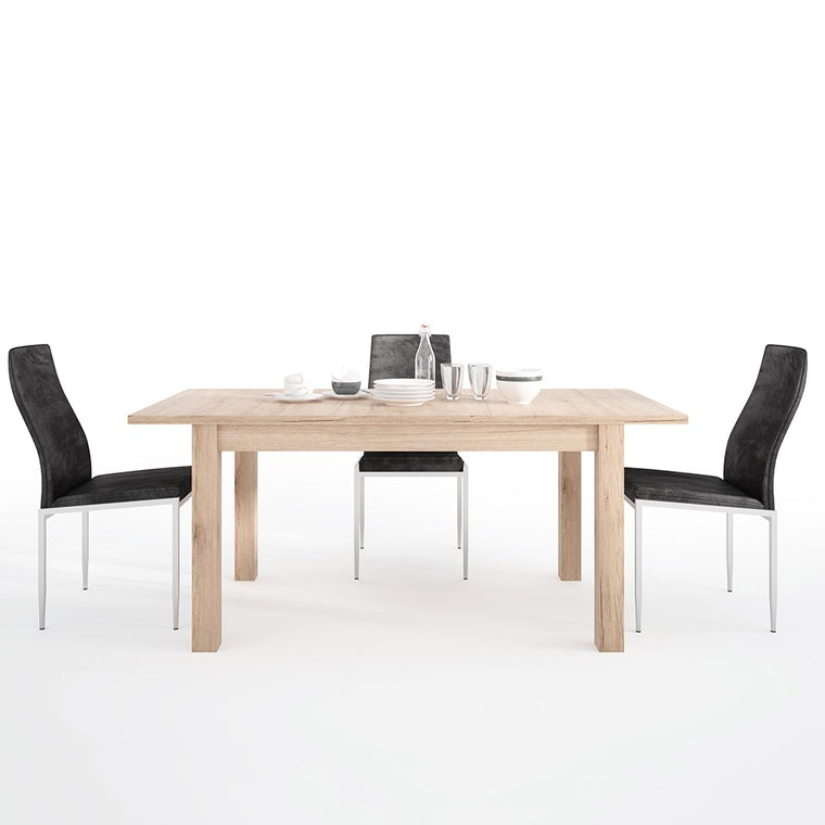 Axton Eastchester Extending Dining Table in Oak + 4 Milan High Back Chair Black