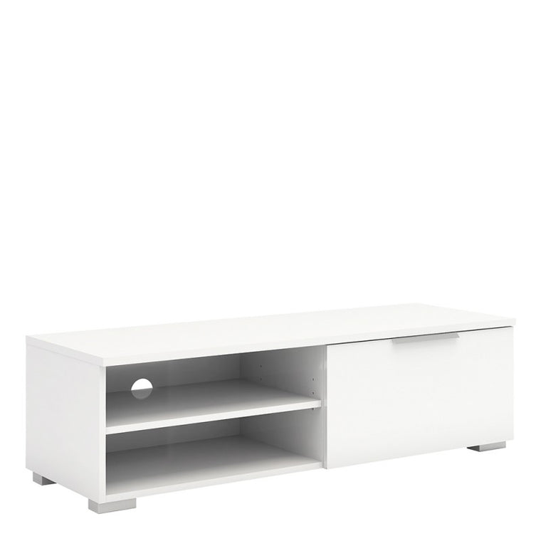 Axton Throggs TV Unit 1 Drawers 2 Shelf In White High Gloss