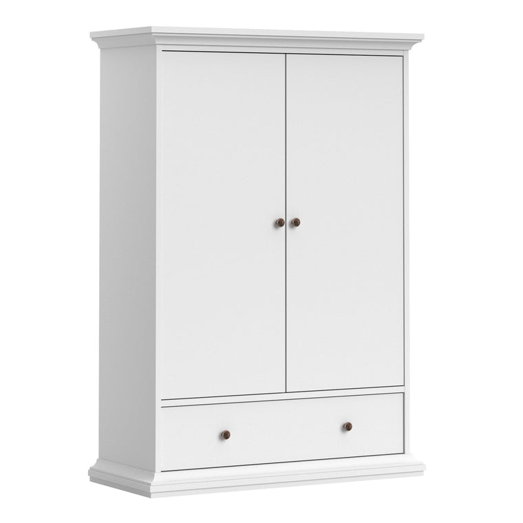 Axton Westchester Wardrobe with 2 Doors 1 Drawer 2 Shelves In White