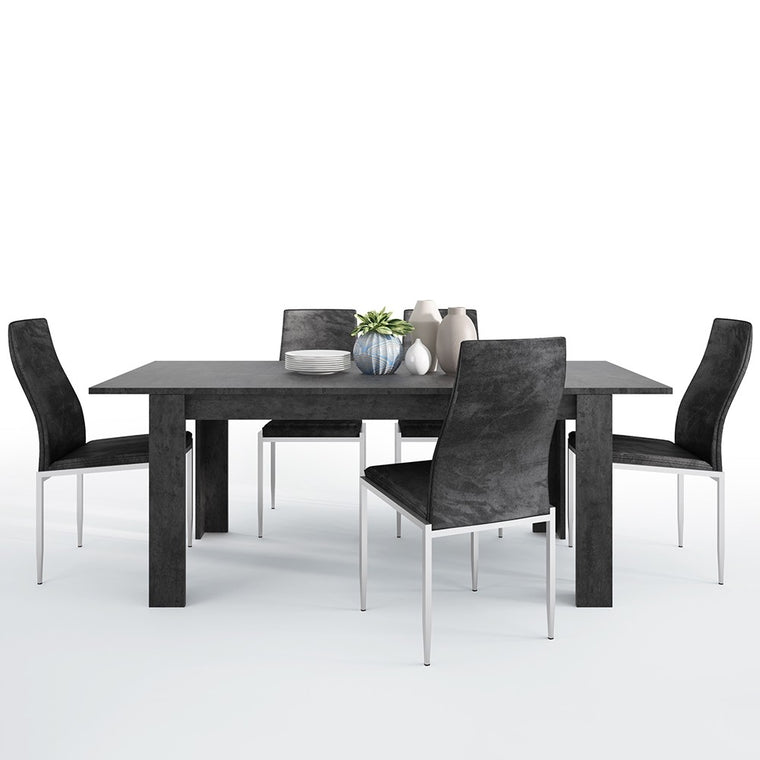 Axton Laconia Dining Table + 6 Milan High Back Chair Black