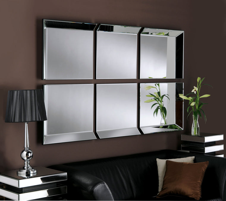 Yearn Art Deco Byblos 6 Panel Black Mirror