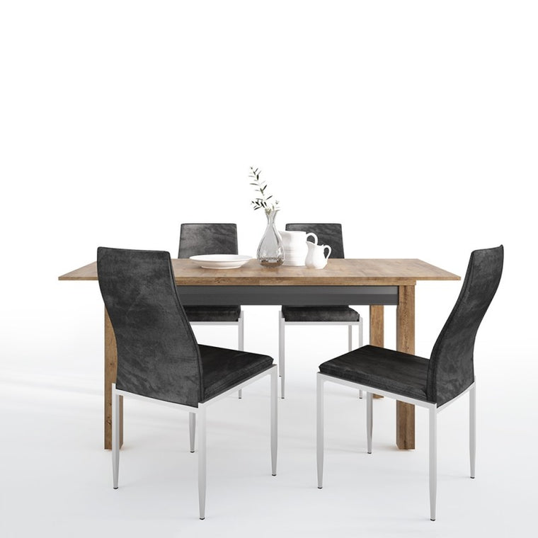 Axton Morris Extending Dining Table + 4 Milan High Back Chair Black