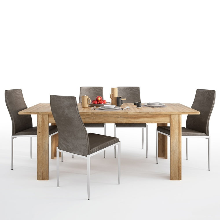 Axton Bronxwood Extending Dining Table in Grandson Oak + 6 Milan High Back Chair Dark Brown