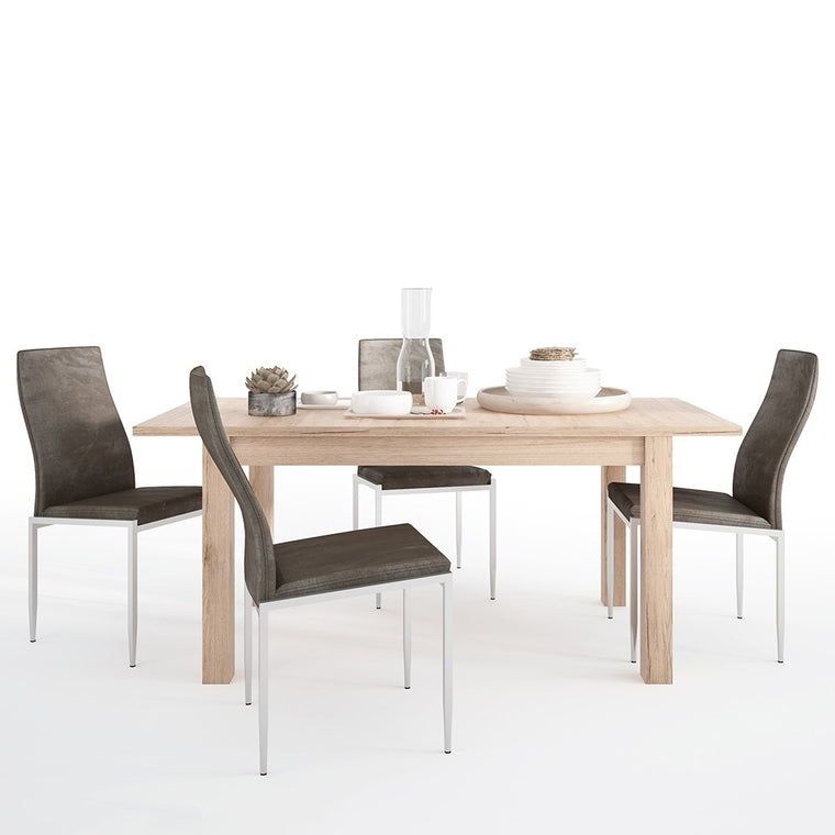 Axton Eastchester Extending Dining Table in Oak + 6 Milan High Back Chair Dark Brown