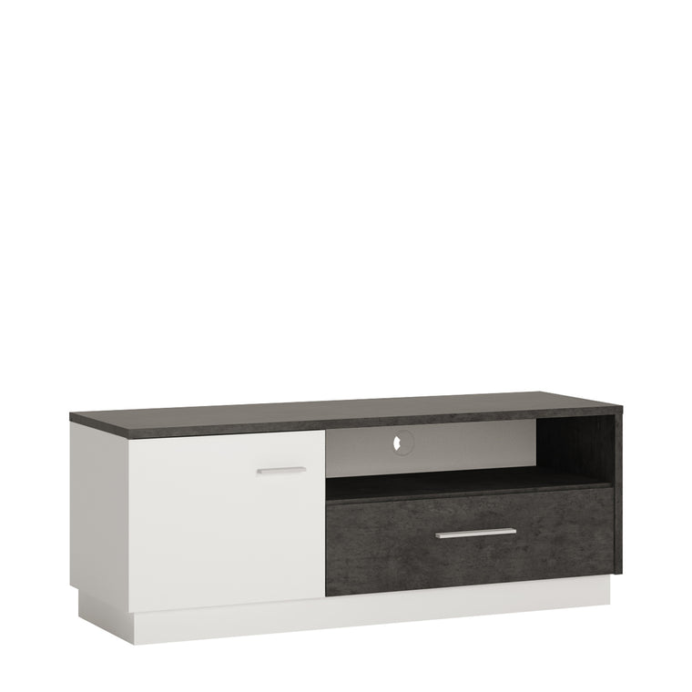 Axton Laconia 1 door 1 drawer TV cabinet in Slate Grey and Alpine White