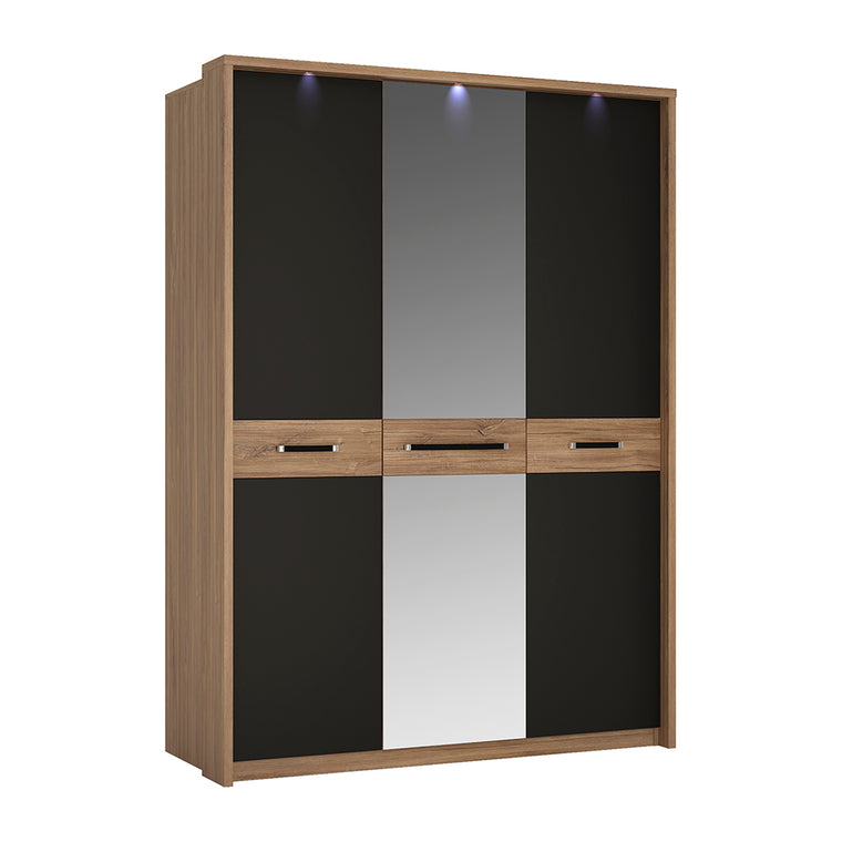 Axton Harding 3 Door Wardrobe With Mirror Door in Stirling Oak With Matt Black Fronts