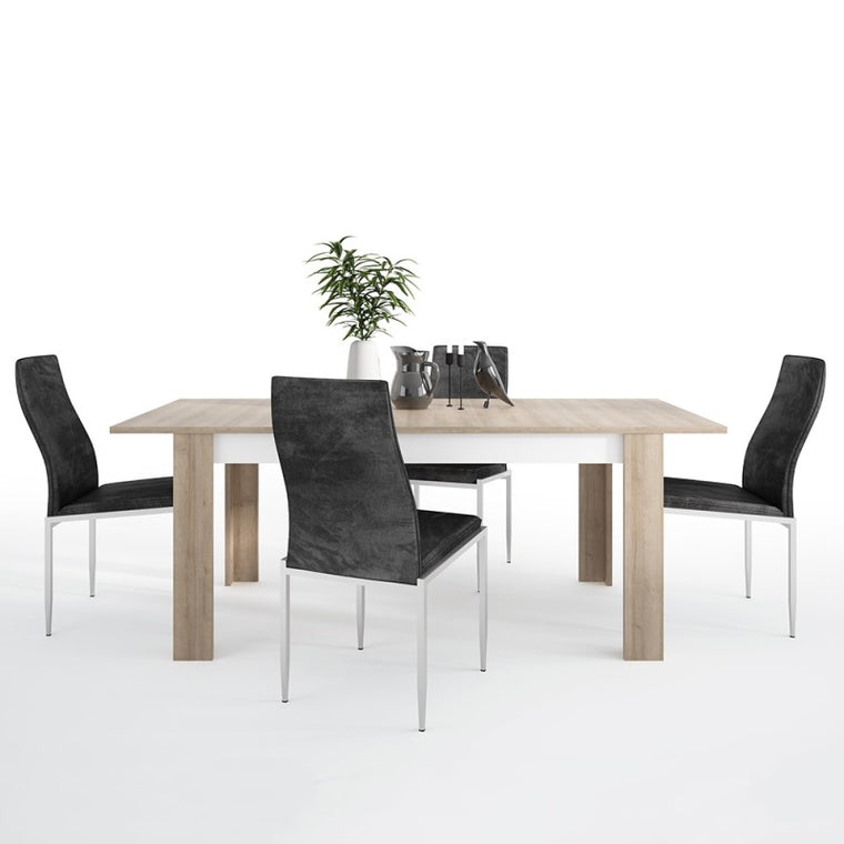 Axton Woodlawn Large Extending Dining Table 160/200 cm + 4 Milan High Back Chair Black