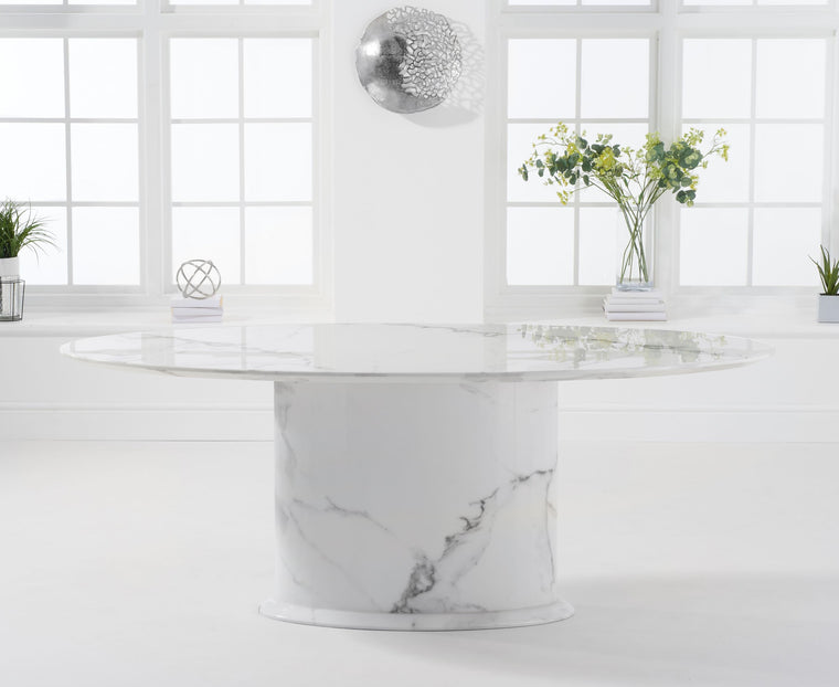 Mark Harris Cooper 200cm Oval Ivory White Marble Dining Table