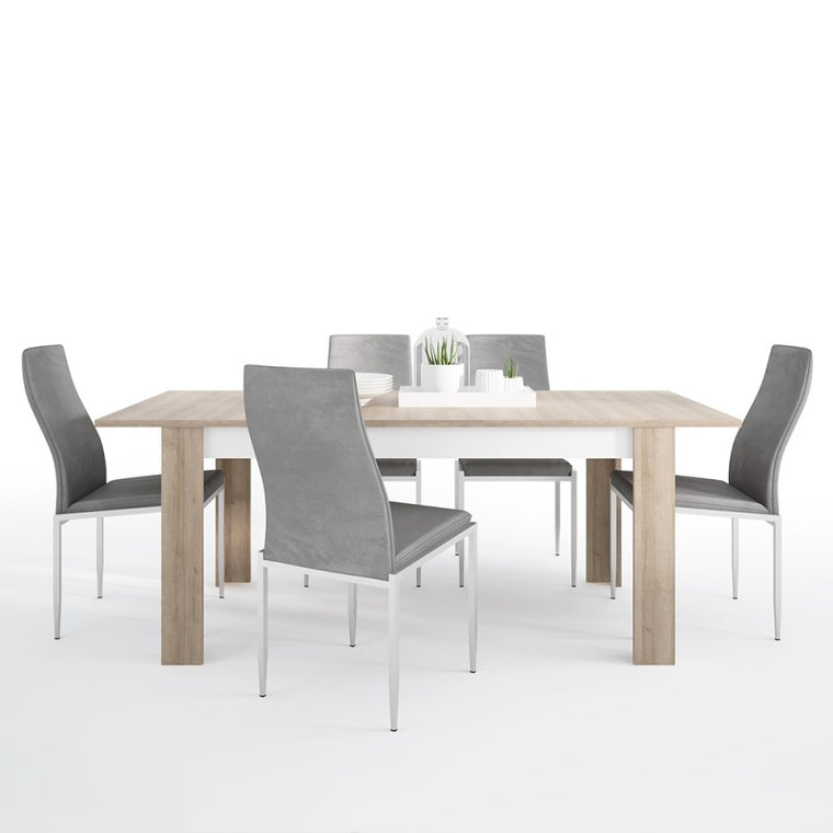 Axton Woodlawn Large Extending Dining Table 160/200 cm + 4 Milan High Back Chair Grey