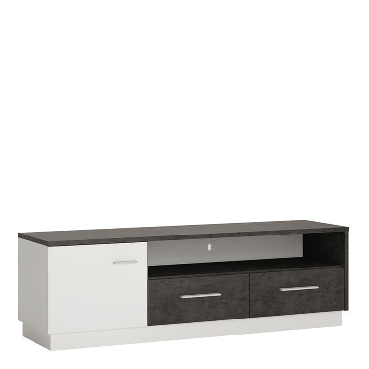 Axton Laconia 1 Door 2 Drawer Wide TV Cabinet In Slate Grey and Alpine White