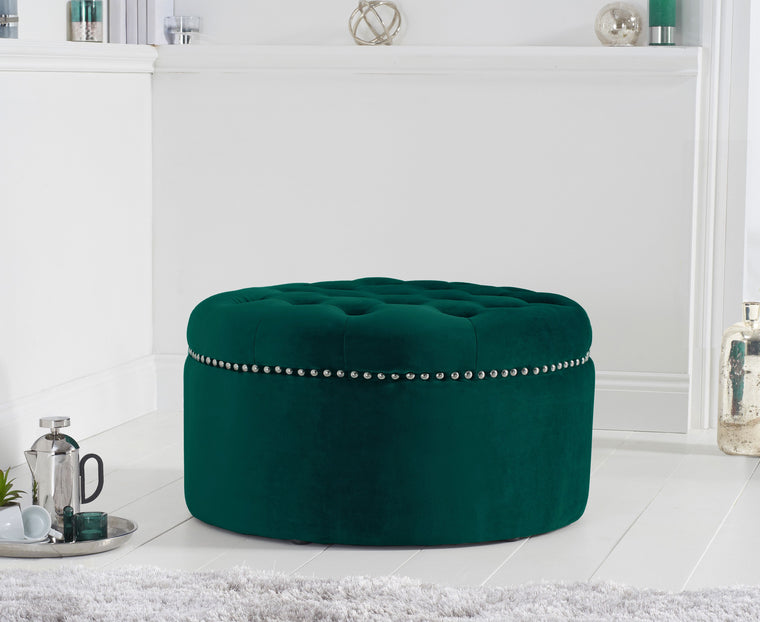 Mark Harris New England Green Velvet Footstool