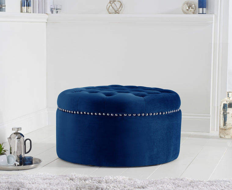 Mark Harris New England Blue Velvet Footstool