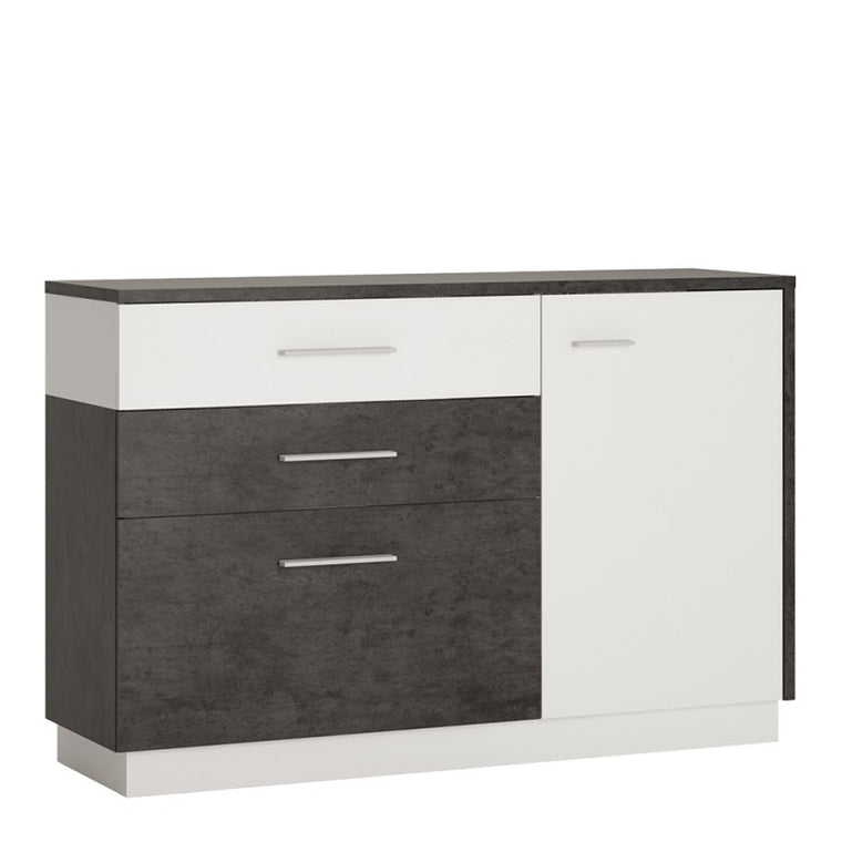 Axton Laconia 1 Door 2 Drawers 1 Compartment Sideboard In Slate Grey and Alpine White