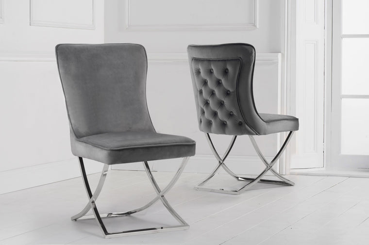 Mark Harris Gabriella Grey Velvet Dining Chair (Pairs)