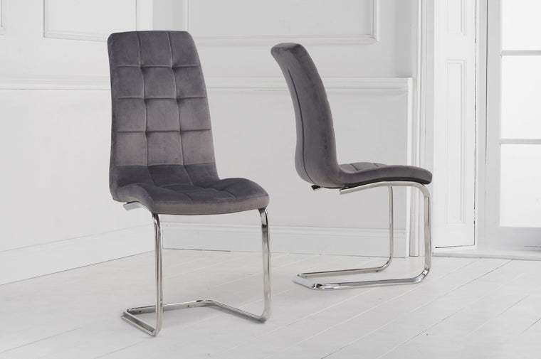 Mark Harris Lucy Hoop Leg Grey Velvet Dining Chair (Pairs)