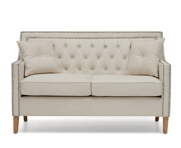 Casa Bella 2 Seater Ivory Fabric Sofa with Cushions