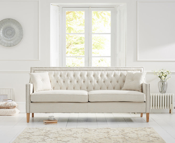 Mark Harris Casa Bella Ivory Fabric 3 Seater Sofa