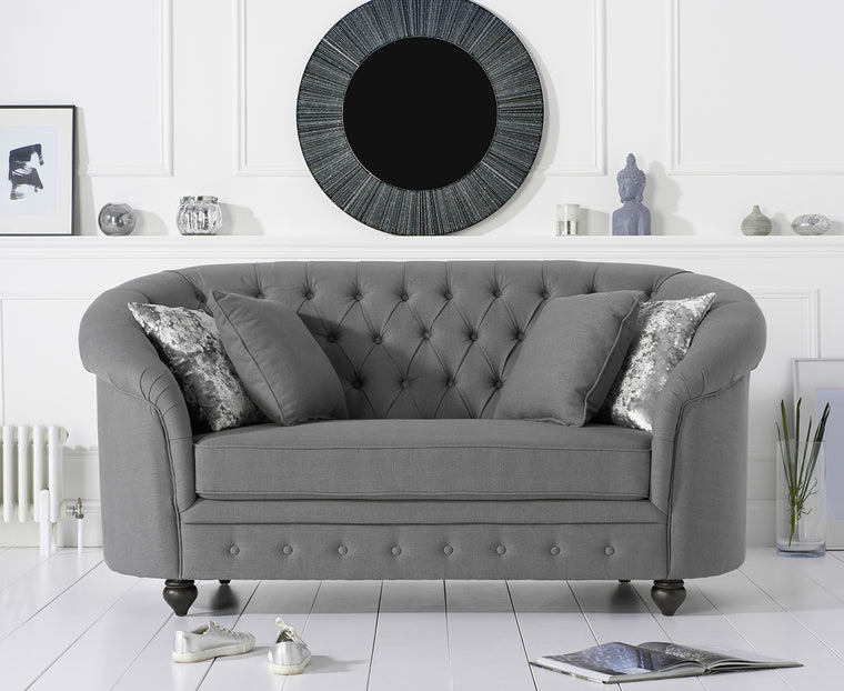 Casey Chesterfield Grey Fabric Two Seater sofa