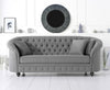 Casey Chesterfield Grey Fabric Three Seater Sofa cuddle