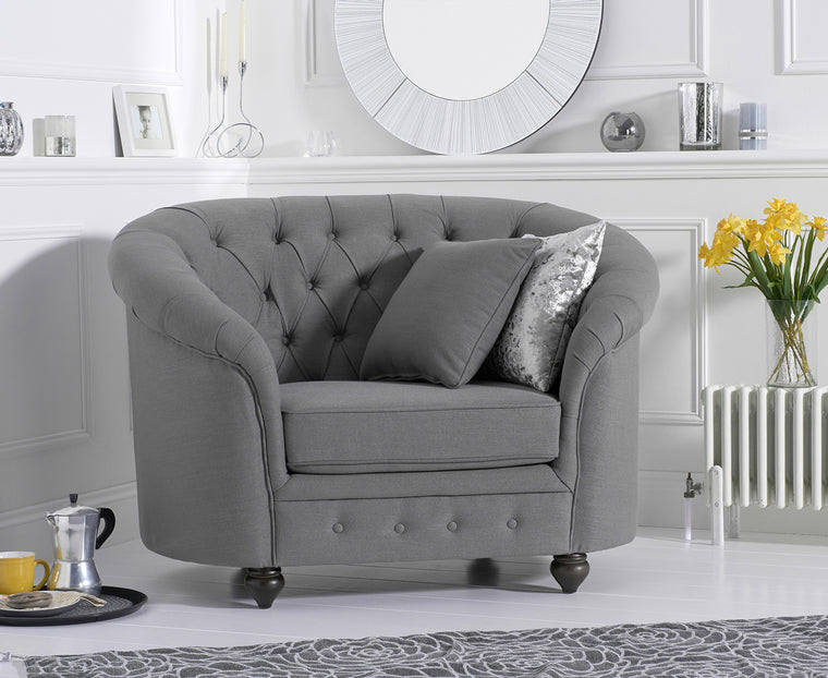 Casey Chesterfield Grey Fabric Armchair