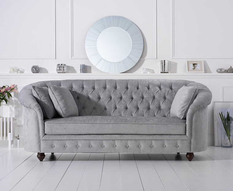 Casey Chesterfield Grey Plush Fabric 3 Seater Sofa