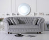 Casey Chesterfield Grey Plush Fabric Three Seater Sofa
