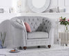 Casey Chesterfield Grey Plush Fabric Chair