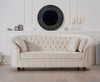 Casey Chesterfield Ivory Fabric 3 Seater