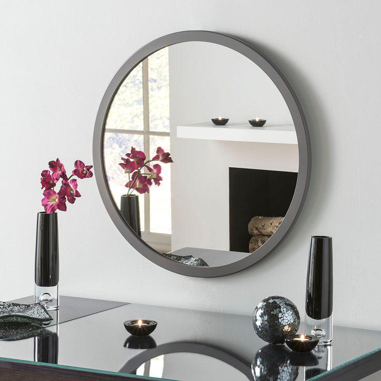 Yearn Contemporary Classic Circle Dark Grey Mirror