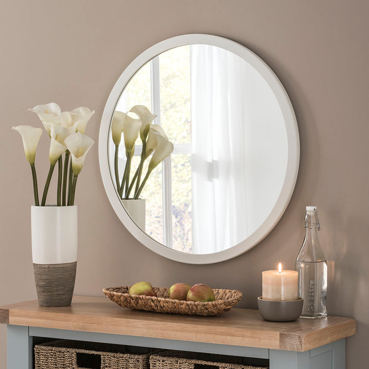 Yearn Contemporary Classic Circle Ivory Mirror