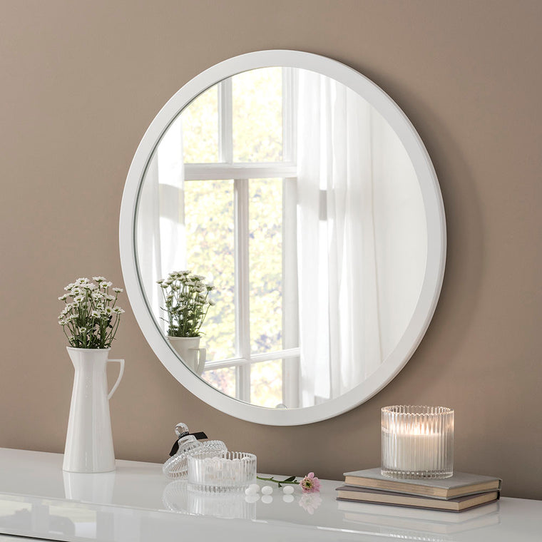 Yearn Contemporary Classic Circle White Mirror