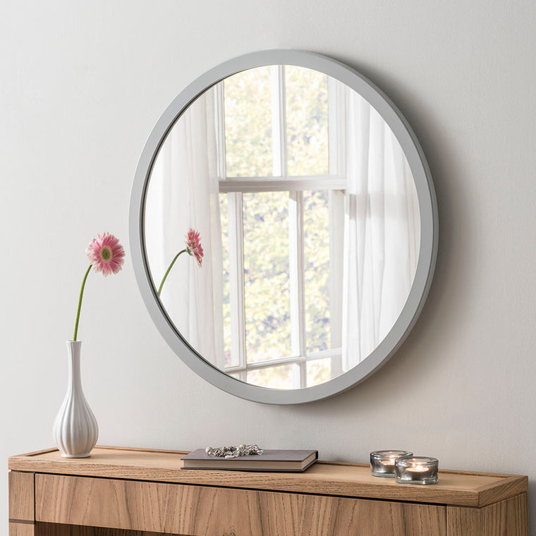 Yearn Contemporary Classic Circle Light Grey Mirror